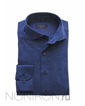 c8f9071ca05ab7c Рубашка Eterna Jersey темно-синего цвета с микродизайном. Рукав 65 см.  Modern Fit