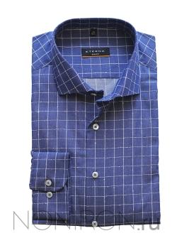 7e88881cd2355c4 Рубашка Eterna синяя с дизайном. Рукав 67 см. Slim Fit.