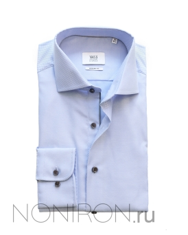 e4310e070798778 Рубашка Eterna Premium голубого цвета с выделкой. Рукав 65 см. Modern Fit.