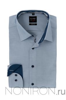 38649cd74539eb2 Рубашка Olymp Level Five голубого цвета меланж с контрастными воротничком и  манжетом. Рукав 64 см